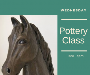 Pottery Class advert with picture of the horse bust Nobility